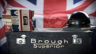 Vintage items are displayed, on January 28, 2021 at the Brough Superior Motorcycles factory in Saint-Jean, southwestern France.