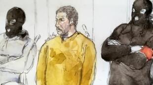 Un dessin représentant Mehdi Nemmouche, le 10 janvier 2019, lors de son procès à Bruxelles.