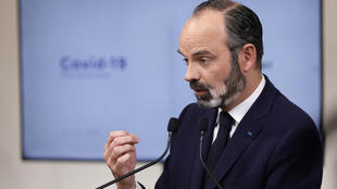 French Prime Minister Edouard Philippe speaks during a news conference in Paris, France March 28, 2020, on the eleventh day of a strict nationwide confinement seeking to halt the spread of COVID-19 disease.