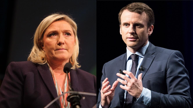 Marine Le Pen et Emmanuel Macron, qualifiés pour le second tour de l'élection présidentielle.