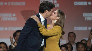 Sophie Gregoire-Trudeau, seen here in October 2019 congratulating her husband, Canadian Prime Minister Justin Trudeau, on his re-election, revealed the impact of a COVID-19 diagnosis on Canada's first family