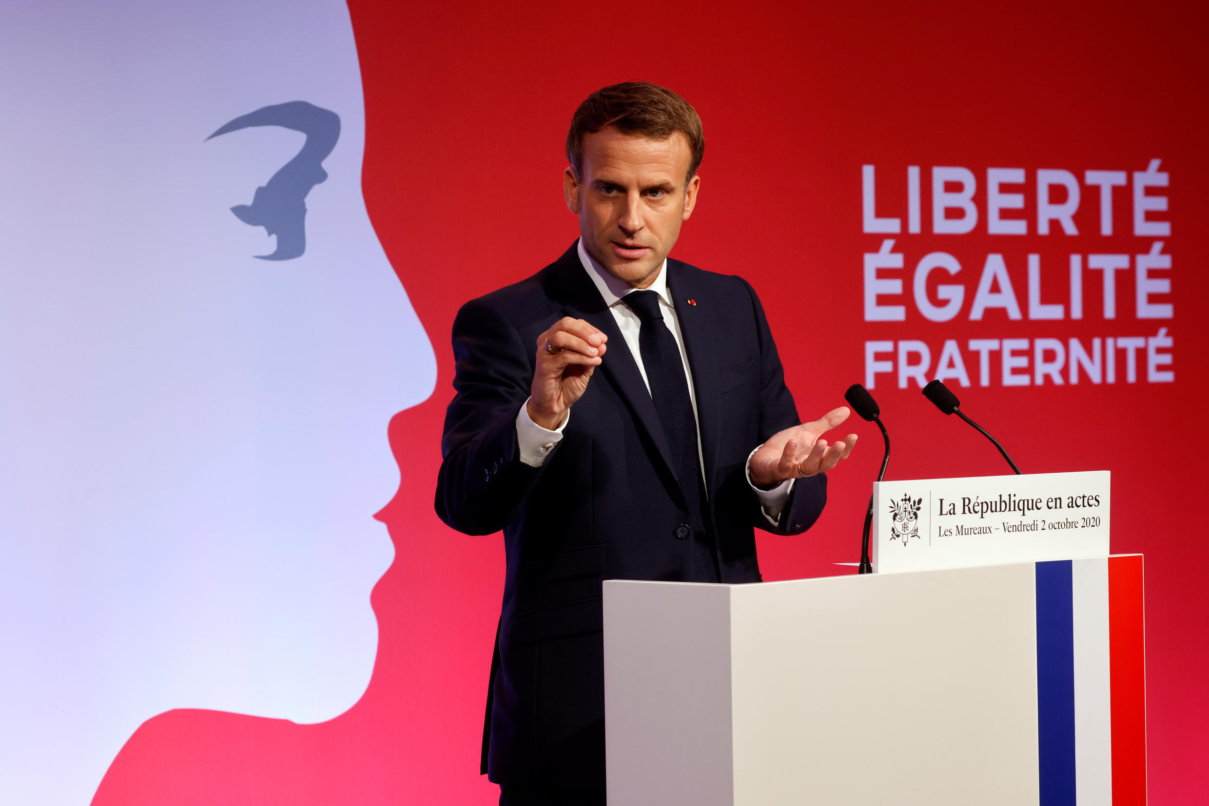 French President Emmanuel Macron presents his strategy to fight separatism on October 2, 2020, at Les Mureaux, in the Paris suburbs.