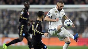 L'attaquant français Karim Benzema lors du 8e de finale aller contre Naples à Madrid, le 15 février 2017.