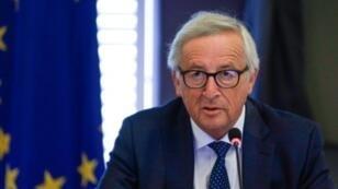 رئيس المفوضية الأوروبية جان كلود يونكر خلال زيارة إلى بلجيكا في 30 آب/أغسطس.