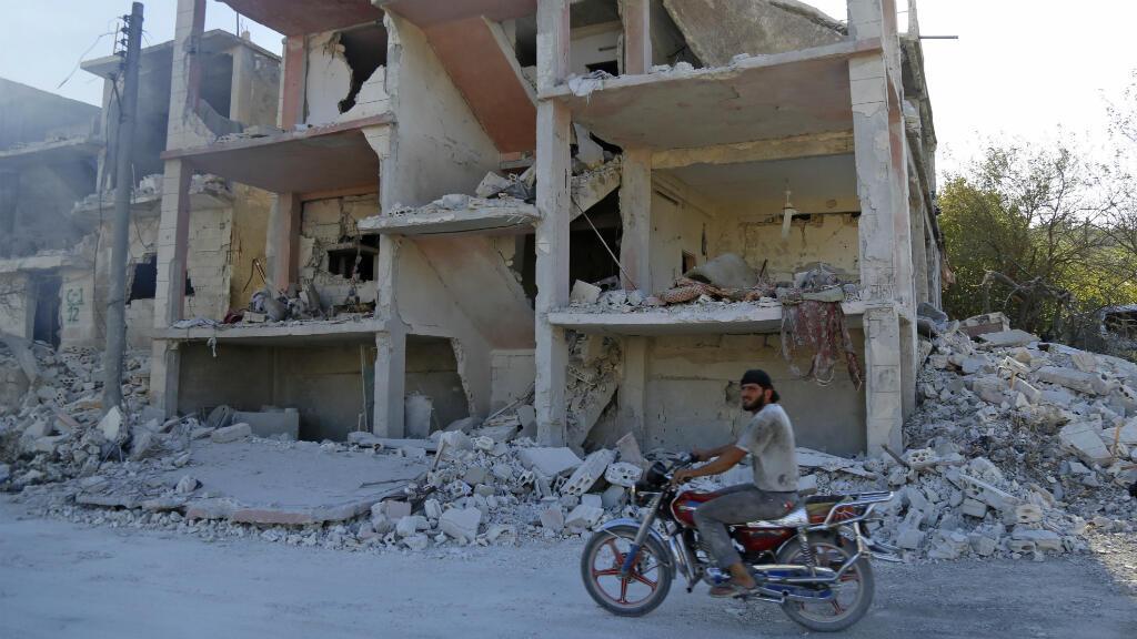 Des ruines dans la région d'Idleb, après des bombardements de l'aviation russe, le 4 septembre 2018.
