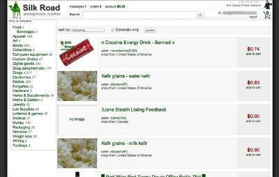 """Capture d'écran d'annonces parues sur """"The Silk Road"""""""