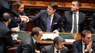Le président du Conseil italien Giuseppe Conte devant les députés, le 9septembre2019 à Rome.
