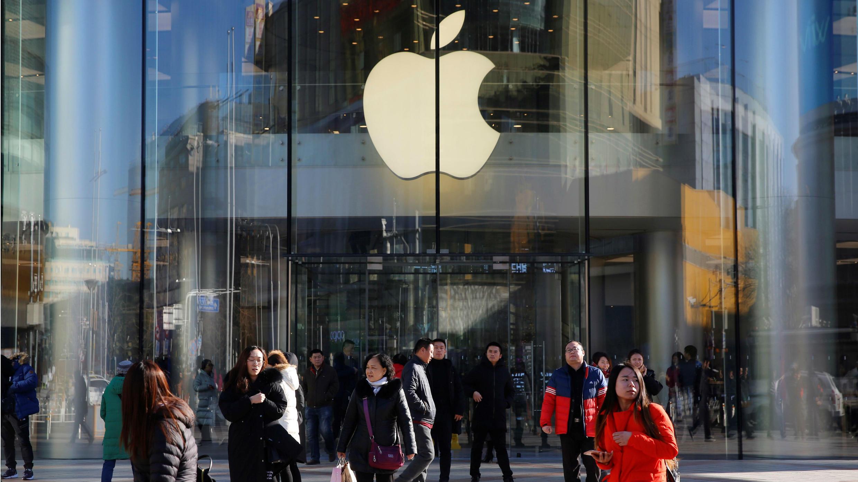 Fachada de una de las tiendas de Apple en la ciudad de Beijing, la capital de China, uno de los mercados más importantes para la compañía que comenzó a presentar síntomas de desaceleración. 12 de diciembre de 2018.