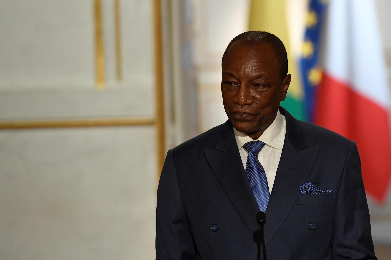 Le président guinéen, Alpha Condé, lors d'une conférence de presse à l'Élysée, le 11 avril 2017.