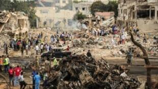 منظر عام للدمار الناجم عن الانفجار في مقديشو 15 تشرين الأول/اكتوبر 2017
