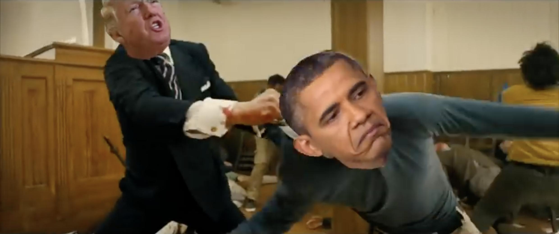 En el video falso de Trump le gana al ex presidente de los EE.UU., Barack Obama.