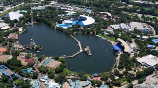 Vue aérienne du parc SeaWorld à Orlando en Floride.