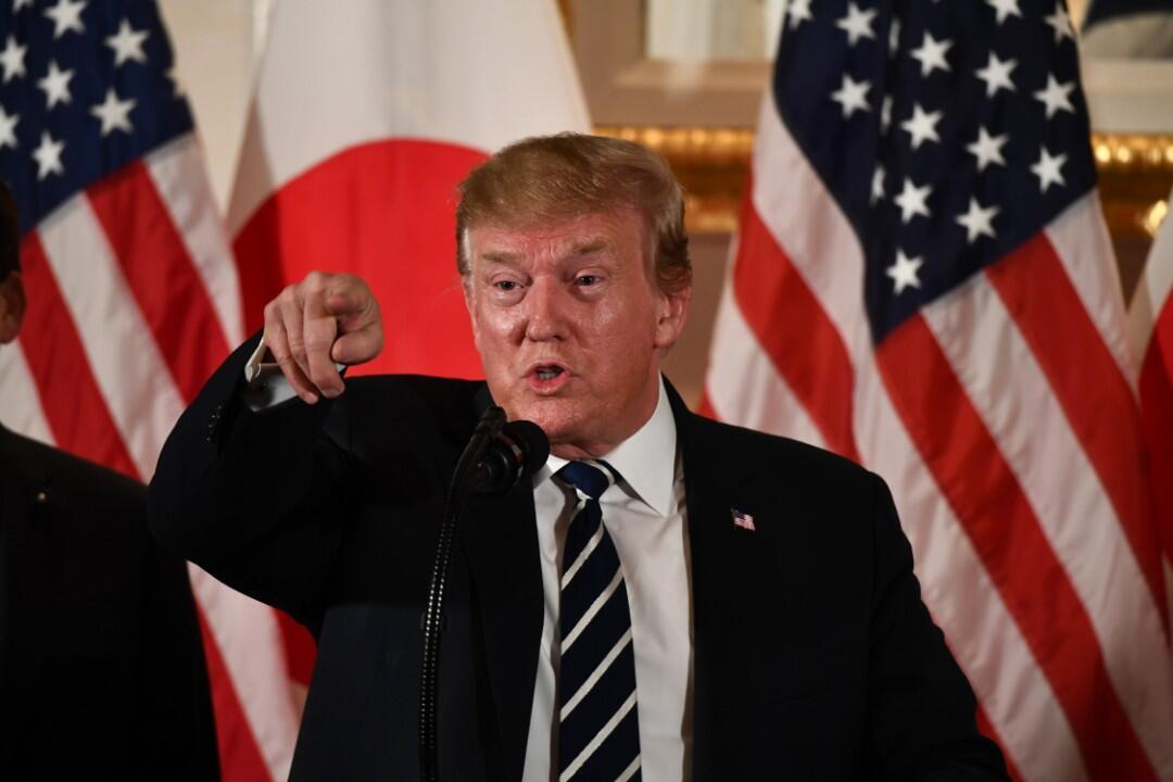 El presidente de Estados Unidos, Donald Trump, durante una reunión con líderes empresariales en Tokio el 25 de mayo de 2019.