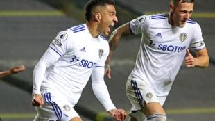 Rodrigoal: Rodrigo (left)scored his first Leeds goal after a club-record move from Valencia