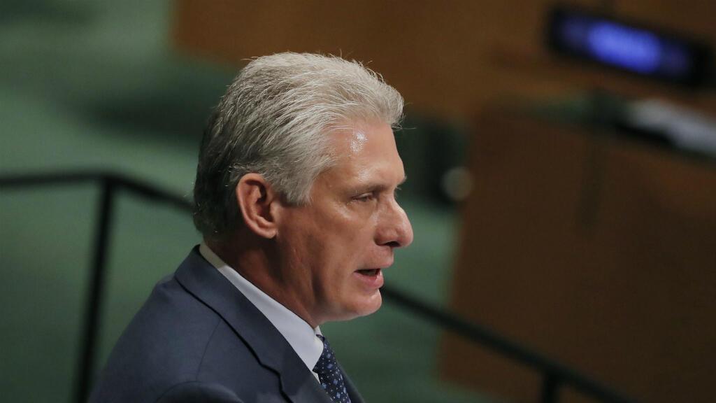 El presidente de Cuba, Miguel Díaz-Canel, se dirige a la Asamblea General de las Naciones Unidas en Nueva York, EE. UU., El 26 de septiembre de 2018.