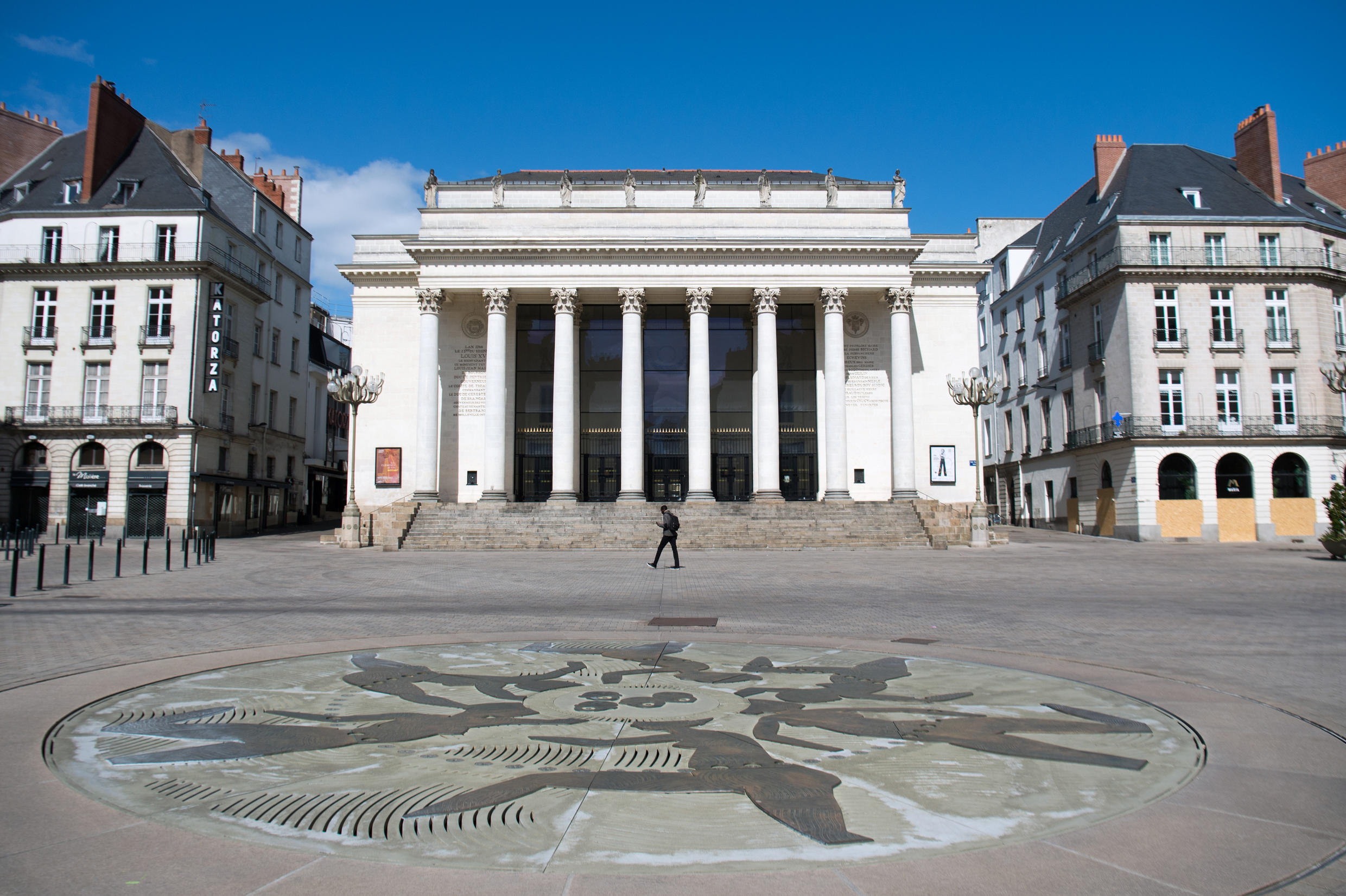 La place Graslin, in central Nantes, remains deserted since France imposed a total lockdown on March 17, 2020.