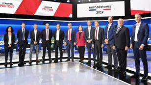 Le débat de France2 et France Inter rassemblait les 12têtes de liste pour les élections européennes de mai2019.