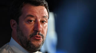 وزير الداخلية الإيطالي السابق وزعيم حزب الرابطة ماتيو سالفيني، في كاتانيا (صقلية) في 2 تشرين الأول/أكتوبر 2020
