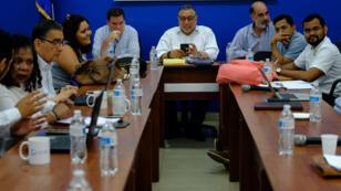 Miembros de la Alianza Cívica por la Justicia y la Democracia y los testigos y acompañantes del proceso de Diálogo Nacional se reunieron este martes 23 de abril en Managua (Nicaragua).