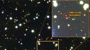 La galaxie naine FRB 121102, d'où proviennent les signaux radio captés fin août.