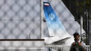 L'avion qui transportait le ministre iranien des Affaires étrangères, Mohammad Javad Zarif, à l'aéroport de la station balnéaire de Biarritz, le 25 août 2019.