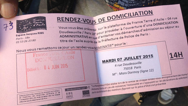The first step in the asylum process for many refugees is to secure a domiciliation meeting with France Terre d'Asile—but they often have to wait for months. Fisseha was given this date in early June, when he was still homeless. (Brenna Daldorph, FRANCE 24)