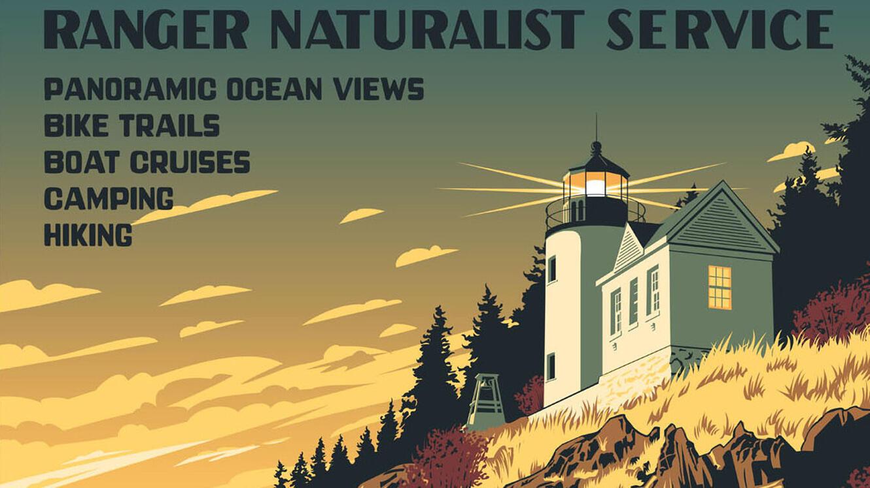 Affiche publicitaire du parc national d'Acadia.