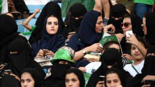 Des femmes saoudiennes dans le stade Roi-Fahd à Ryad samedi 23 septembre.