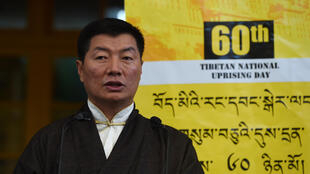 The leader of the Tibetan government in exile, Lobsang Sangay, addresses a gathering at the Dalai Lama's temple during the 60th anniversary of the Tibetan Uprising Day that commemorates the 1959 Tibetan uprising, in McLeod Ganj on March 10, 2019