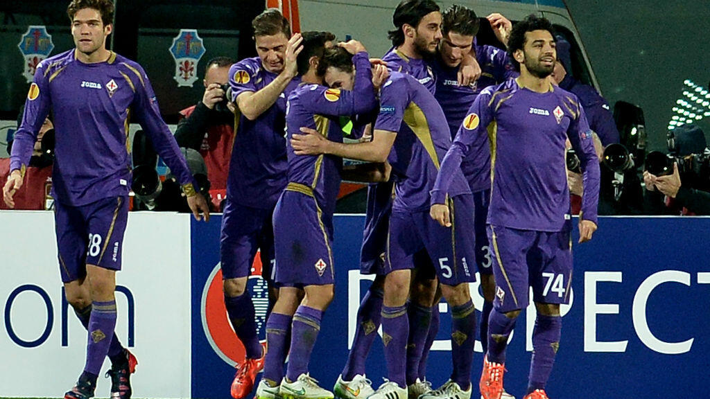 Egyptian winger Mohamed Salah (pictured right) scored the second of Fiorentina's two goals.