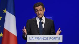 Nicolas Sarkozy lors de son discours de défaite à la présidentielle, le 6 mai 2012.