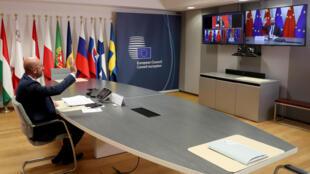 Le président du Conseil européen Charles Michel lors d'une visioconférence lundi 22 juin 2020 à Bruxelles.