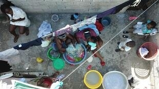 It's hard to maintain 'social distance' in Haiti's tightly-packed working class neighborhoods like Jalousie, in Petionville, Port-au-Prince