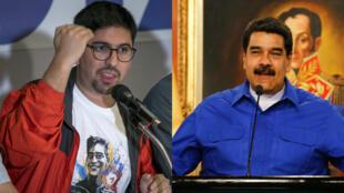 El diputado Freddy Guevara, portavoz de la MUD, y el presidente de Venezuela, Nicolás Maduro.