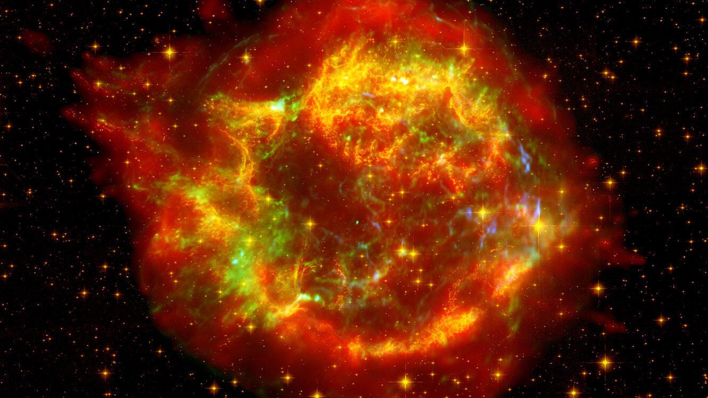Cassiopée A, rémanent d'une supernova qui était observable depuis la Terre au milieu du XVIIe siècle.
