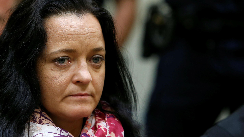 Beate Zschäpe integrante de la célula terrorista 'Clandestinidad Nacionalsocialista' ante de escuchar su condena. 11 de julio de 2018.