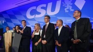 Markus Soder, le candidat de la CSU en Bavière, s'adresse à ses partisans le 14 octobre 2018.