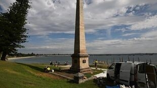 The Captain Cook memorial on the shore of Botany Bay marks where the English explorer landed in Australia on April 29, 1770