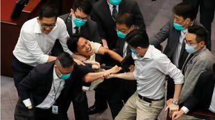 Hong Kong legislature scuffle
