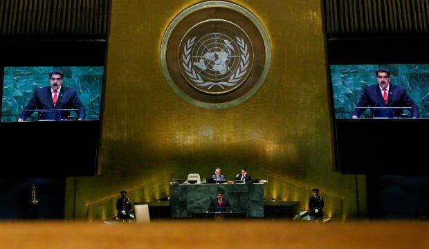 El Presidente de Venezuela, Nicolás Maduro, durante su discurso en la 73ª sesión de la Asamblea General de las Naciones Unidas en la sede de los Estados Unidos en Nueva York, EE. UU., 26 de septiembre de 2018.