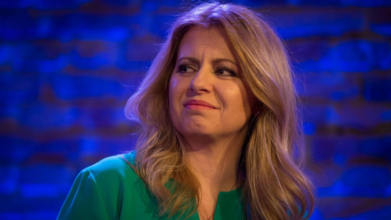 Zuzana Caputova lors d'un débat avant le premier tour de l'élection présidentielle slovaque, à Bratislava, le 11 mars 2019.
