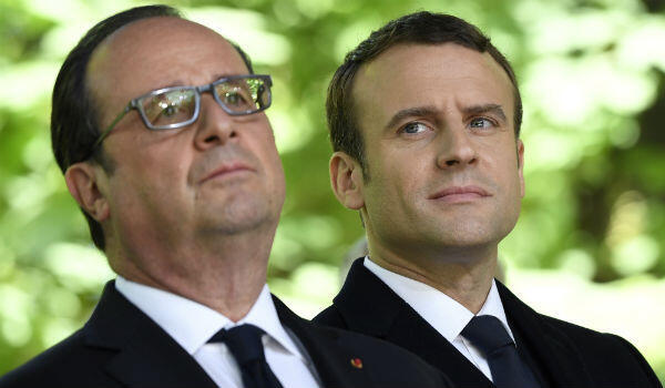 Outgoing French president, François Hollande, and president-elect Emmanuel Macron are seen here on May 10, 2017.