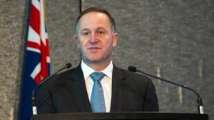 Le Premier ministre néo-zélandais lors d'un discours à Auckland, le 2 septembre 2014.