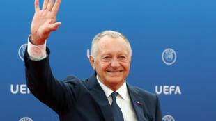 رئيس نادي ليون الفرنسي جان ميشال أولاس في لقطة له على هامش سحب قرعة دوري ابطال اوروبا. 30 اب/اغسطس 2018