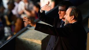 Le Premier ministre Manuel Valls et le président de l'UEFA Michel Platini, le 6 juin à Berlin pour la finale de la Ligue des champions.
