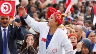 Manifestants à Tunis pendant la grève générale du 22 novembre 2018.