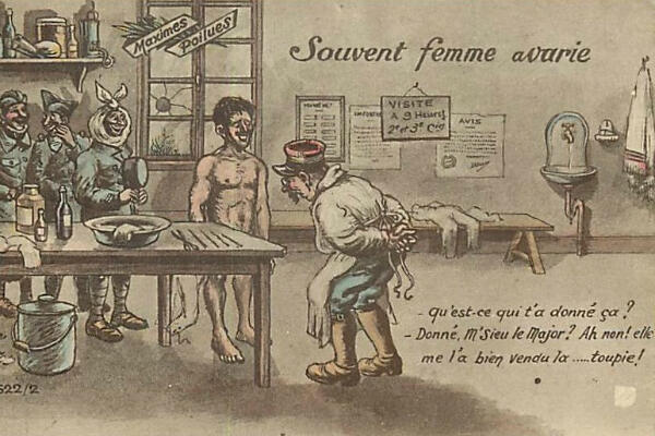 Une carte postale de la Première Guerre mondiale montrant avec humour un contrôle médical