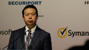 Le président d'Interpol, le Chinois Meng Hongwei, lors d'une conférence à Singapour, le 4 juillet 2017.