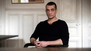 The Russian activist Pyotr Pavlensky during an interview with AFP at his lawyer's office in Paris on February 14, 2020.