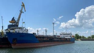Le tanker russe Nika Spirit dans le port d'Izmaïl, le 25 juillet 2019.
